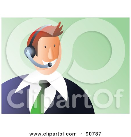 Royalty-Free (RF) Clipart Illustration of a Customer Service Business Man Wearing A Headset by Prawny