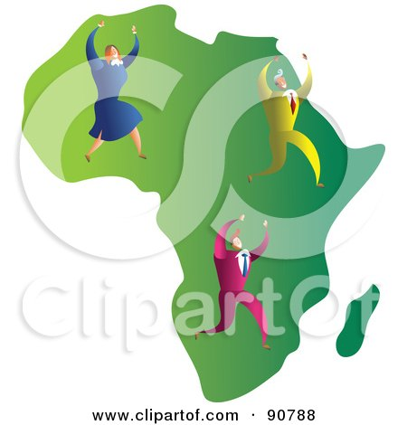 Royalty-Free (RF) Clipart Illustration of a Successful Business Team On A Map Of Africa by Prawny
