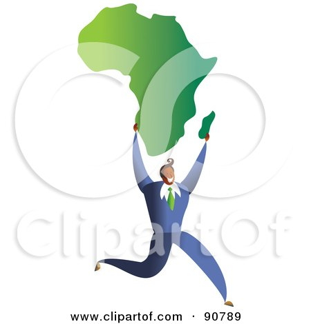 Royalty-Free (RF) Clipart Illustration of a Successful Businessman Carrying A Map Of Africa by Prawny