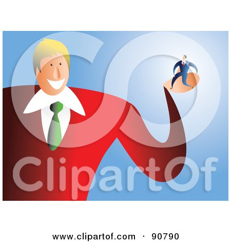 Royalty-Free (RF) Clipart Illustration of a Friendly Businessman Holding A Tiny Man In His Palm by Prawny