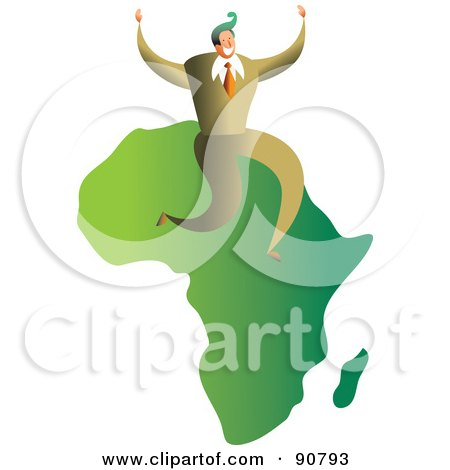 Royalty-Free (RF) Clipart Illustration of a Successful Businessman Sitting On A Map Of Africa by Prawny