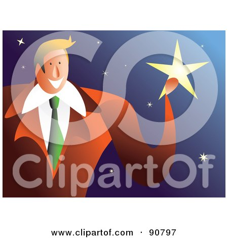 Royalty-Free (RF) Clipart Illustration of a Businessman Catching A Falling Star by Prawny