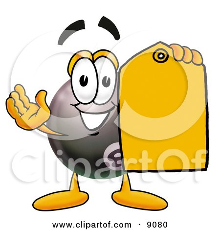 Clipart Picture of an Eight Ball Mascot Cartoon Character Holding a Yellow Sales Price Tag by Toons4Biz