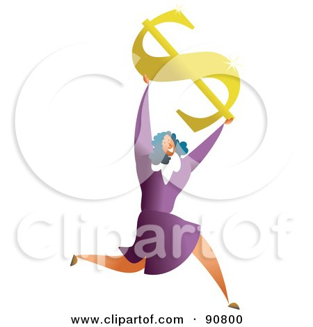 Royalty-Free (RF) Clipart Illustration of a Successful Businesswoman Holding Up A Dollar Symbol by Prawny