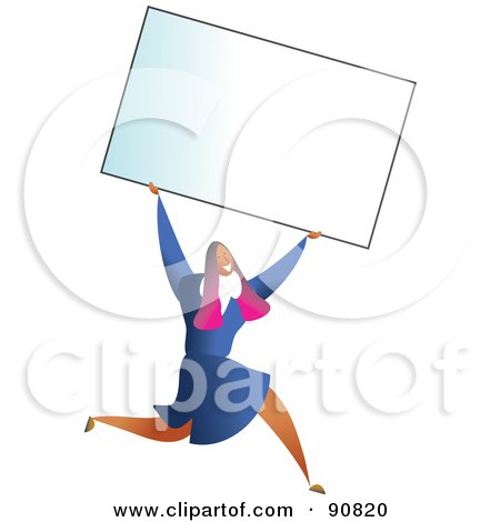 Royalty-Free (RF) Clipart Illustration of a Successful Businesswoman Carrying A Blank Business Card Over Her Head by Prawny