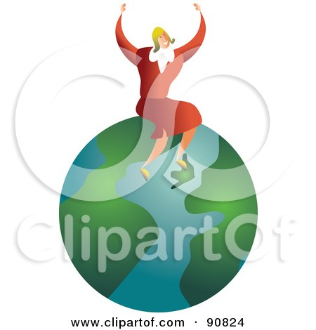 Royalty-Free (RF) Clipart Illustration of a Successful Businesswoman Sitting On A Globe by Prawny