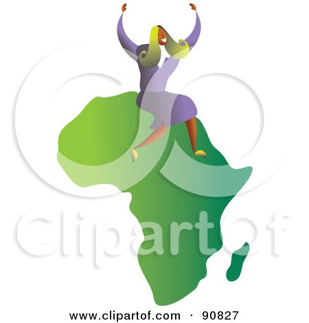 Royalty-Free (RF) Clipart Illustration of a Successful Businesswoman Sitting On Africa by Prawny