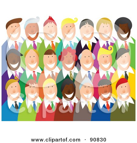Royalty-Free (RF) Clipart Illustration of a Happy Crowd Of Smiling ...