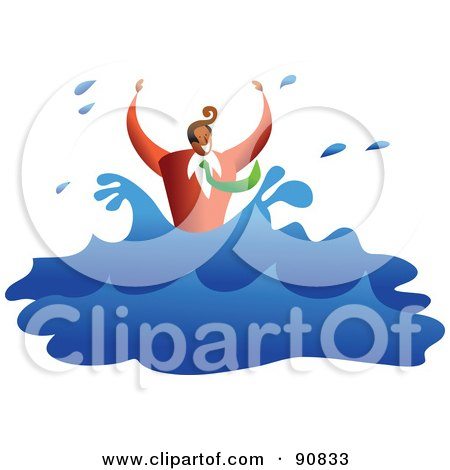 Royalty-Free (RF) Clipart Illustration of a Businessman Drowning And Splashing In Water by Prawny