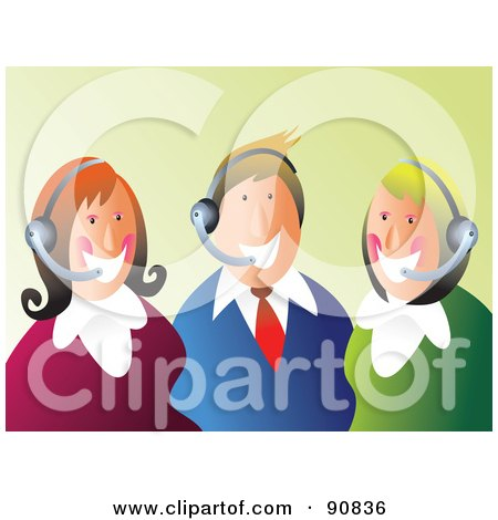 Royalty-Free (RF) Clipart Illustration of a Happy Customer Service Team Wearing Headsets by Prawny