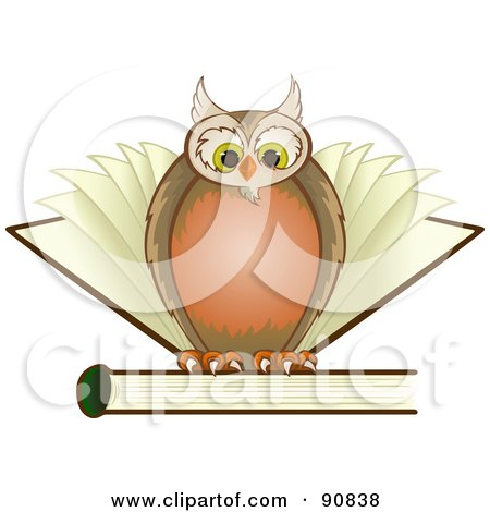 Wise Owl Perched On Top Of A Book With Pages Behind Him Posters, Art Prints