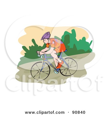 Royalty-Free (RF) Clipart Illustration of a Male Mountain Biker Riding by Prawny