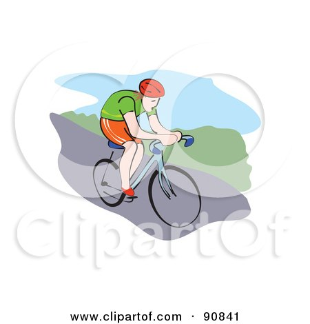 Royalty-Free (RF) Clipart Illustration of a Male Mountain Biker Riding Downhill by Prawny