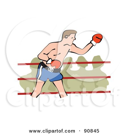 Royalty-Free (RF) Clipart Illustration of a Male Boxer In A Ring, A Crowd Watching by Prawny