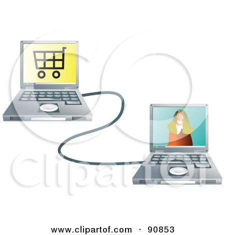 Royalty-Free (RF) Clipart Illustration of a Woman On A Laptop Screen Connected To A Shopping Laptop by Prawny