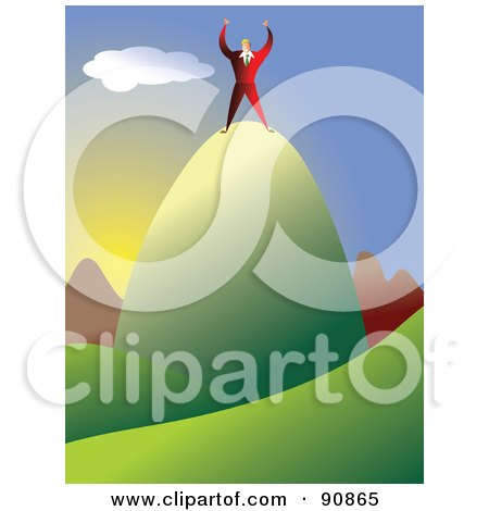 Royalty-Free (RF) Clipart Illustration of a Businessman Celebrating On Top Of A Mountain Top by Prawny