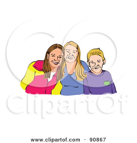 Royalty-Free (RF) Clipart Illustration of a Portrait Of A Boy And His Two Sisters by Prawny