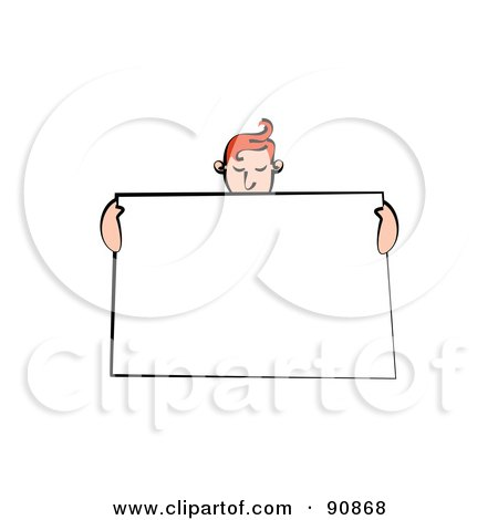 Royalty-Free (RF) Clipart Illustration of a Red Haired Man Holding Up A Blank Sign And Looking Down by Prawny