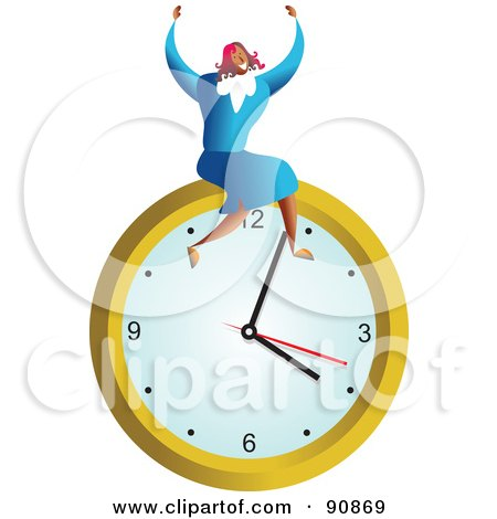 Royalty-Free (RF) Clipart Illustration of a Successful Businesswoman Sitting On A Clock