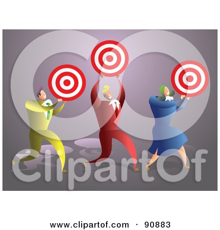Royalty-Free (RF) Clipart Illustration of a Successful Business Team Carrying Targets by Prawny