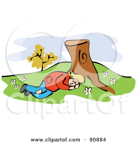 Tired Girl Sleeping At The Base Of A Tree Stump Posters, Art Prints