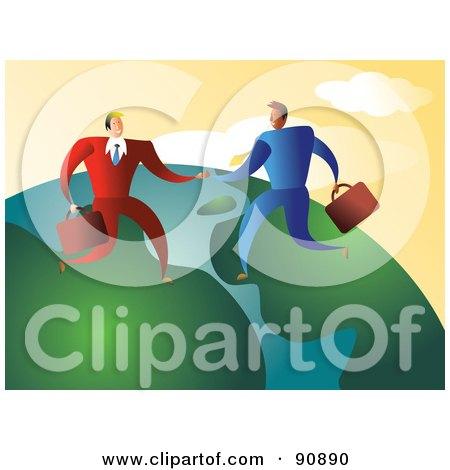 Royalty-Free (RF) Clipart Illustration of Businessmen Shaking Hands On A Globe by Prawny