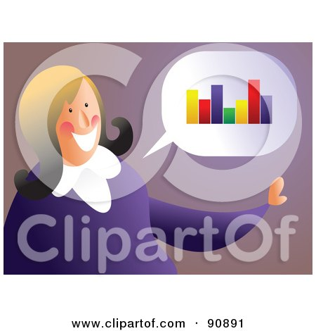 Royalty-Free (RF) Clipart Illustration of a Businesswoman Thinking Of A Bar Graph by Prawny