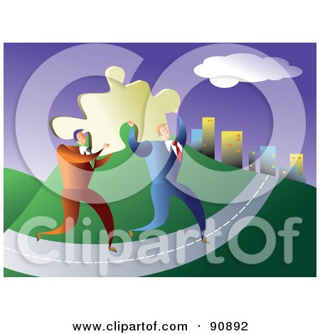 Royalty-Free (RF) Clipart Illustration of Two Businessmen Carrying A Solution, A Puzzle Piece To A City by Prawny