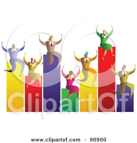 Royalty-Free (RF) Clipart Illustration of a Celebrating Business Team On A Bar Graph by Prawny