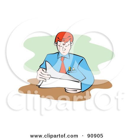 Royalty-Free (RF) Clipart Illustration of a Businessman Reading A Document At His Desk by Prawny