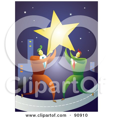 Royalty-Free (RF) Clipart Illustration of Two Businessmen Carrying A Star To A City by Prawny