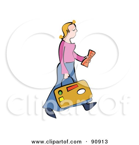 Royalty-Free (RF) Clipart Illustration of a Blond Woman Carrying Luggage And A Ticket by Prawny