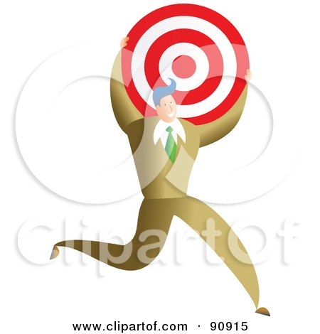 Royalty-Free (RF) Clipart Illustration of a Successful Businessman Carrying A Target by Prawny