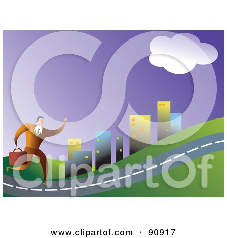 Royalty-Free (RF) Clipart Illustration of a Businessman Carrying A Briefcase And Running On A Long Road by Prawny