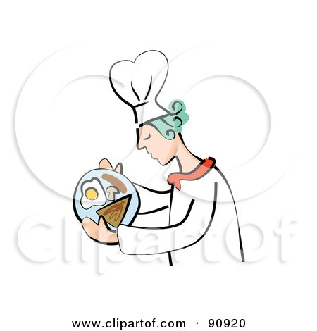 Royalty-Free (RF) Clipart Illustration of a Breakfast Chef Carrying A Meal With Eggs And Toast by Prawny