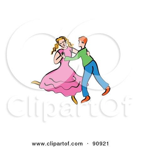 Royalty-Free (RF) Clipart Illustration of a Young Couple Dancing Together by Prawny