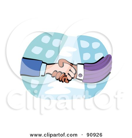 Royalty-Free (RF) Clipart Illustration of a Diverse Handshake Over City Buildings by Prawny