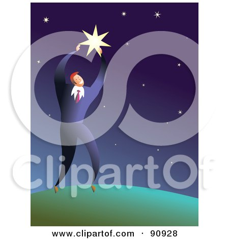 Royalty-Free (RF) Clipart Illustration of a Businessman Reaching For A Big Star In The Sky by Prawny