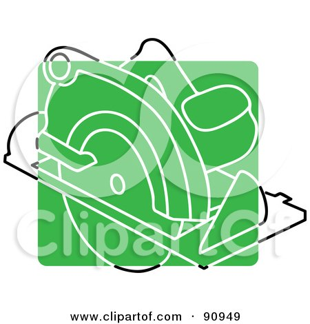 Royalty-Free (RF) Clipart Illustration of a Green Circular Saw App Icon by Rosie Piter