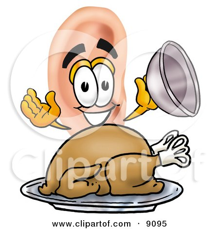Clipart Picture of an Ear Mascot Cartoon Character Serving a Thanksgiving Turkey on a Platter by Toons4Biz