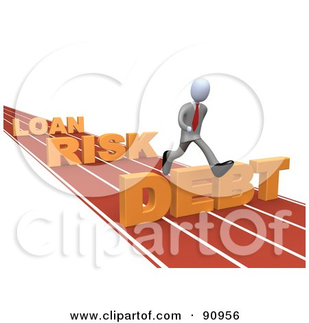 Royalty-Free (RF) Clipart Illustration of 3d White Businessman Leaping Loan, Risk And Debt Hurdles On A Track by 3poD