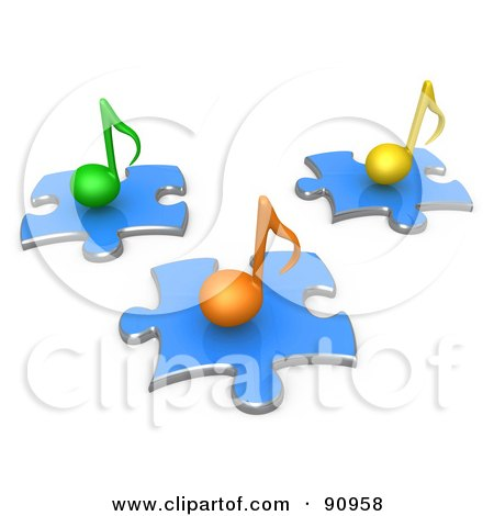 Royalty-Free (RF) Clipart Illustration of 3d Green, Orange And Yellow Music Notes On Blue Puzzle Pieces by 3poD