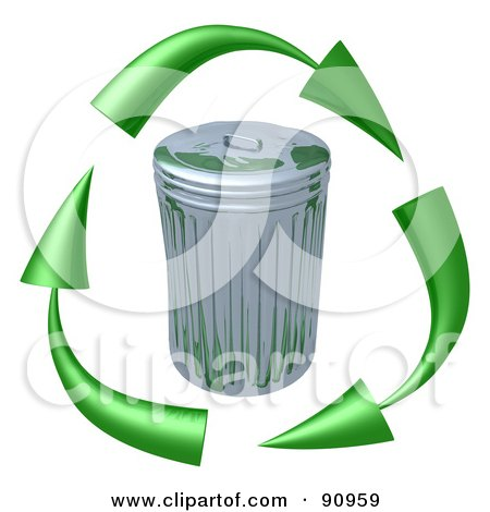 Royalty-Free (RF) Clipart Illustration of 3d Green Arrows Circling A Tin Trash Can by 3poD