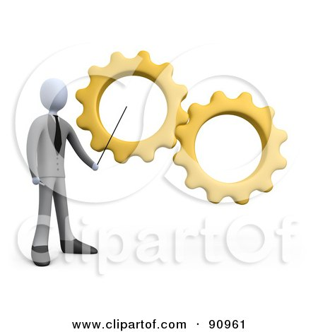 Royalty-Free (RF) Clipart Illustration of a 3d White Businessman Pointing To Yellow Gears During A Training Course by 3poD
