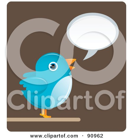 Royalty-Free (RF) Clipart Illustration of a Blue Bird With A Word Balloon Over Brown by Qiun