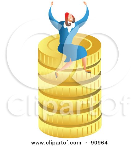 Royalty-Free (RF) Clipart Illustration of a Successful Businesswoman Sitting On Gold Coins by Prawny