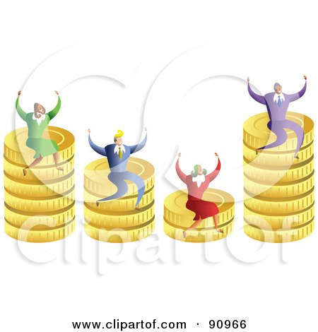 Royalty-Free (RF) Clipart Illustration of a Successful Business Team Sitting On Stacks Of Coins by Prawny