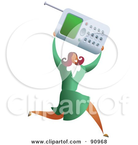 Royalty-Free (RF) Clipart Illustration of a Successful Businesswoman Carrying A Cell Phone by Prawny