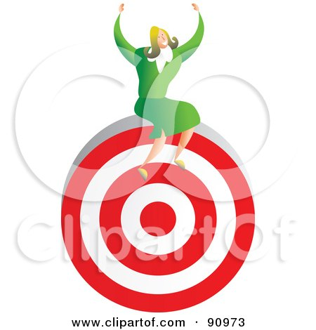 Royalty-Free (RF) Clipart Illustration of a Successful Businesswoman Sitting On A Target by Prawny