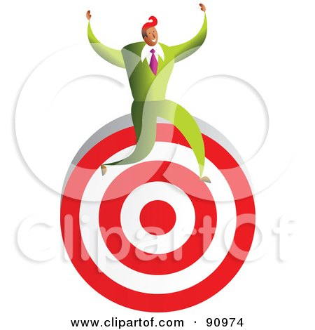 Royalty-Free (RF) Clipart Illustration of a Successful Businessman Sitting On A Target by Prawny